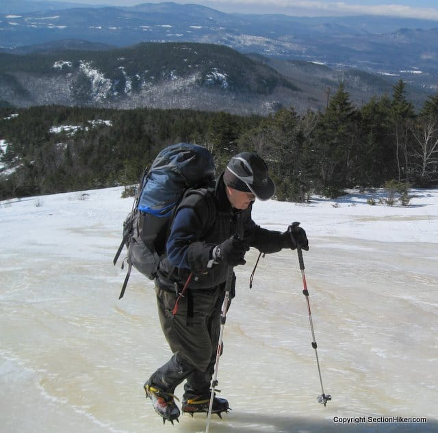 Wearing Crampons on the Welch-Dickey Ledges