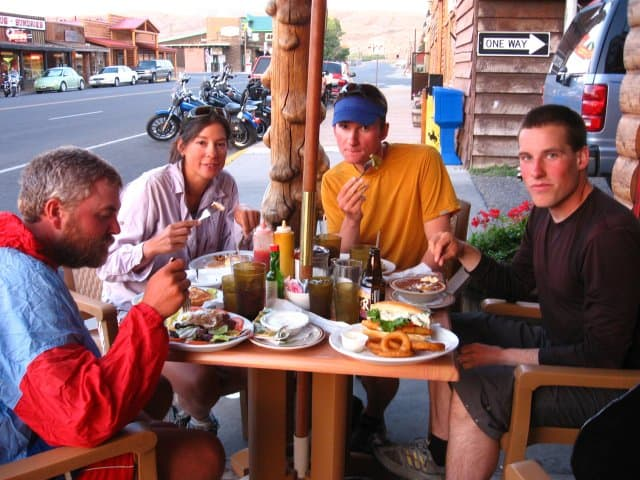Thru-hikers dining out in Dubois, Wyoming during a Continental Divide Trail thru-hike