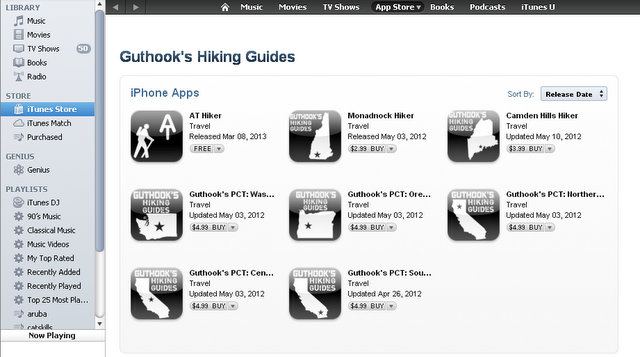 Guthooks Hiking Guides in the Apple App Store