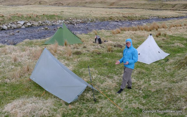 Jon pitches a Gossamer Gear SpinnShelter
