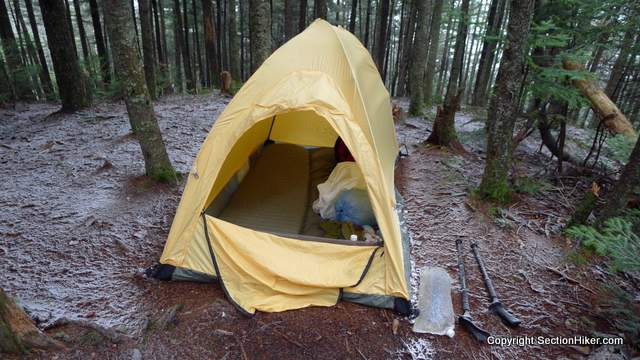 My trusty Black Diamond Firstlight Tent - I packed the right shelter for this trip - excellent wind protection and a warm XTherm Sleeping pad kept me tasty all night