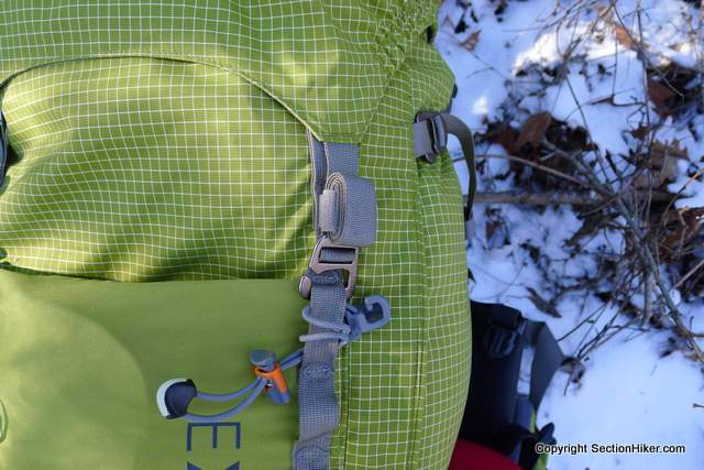 The Exped Thunder 70 uses aluminum hooks to secure webbing rather than plastic buckles. Velcro webbing keepers are used to keep the pack's numerous straps under control and out of the way.