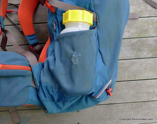 The problem with mesh side pockets is that they are easy to tear. Montane Grand Tour 55 Backpack.