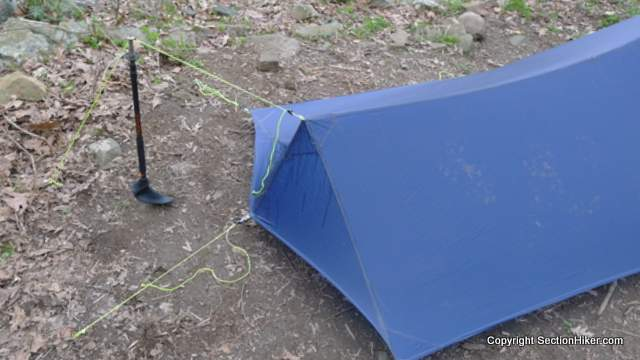 One possible rear pitch configuration. You can also place the pole inside and under the outer tarp.