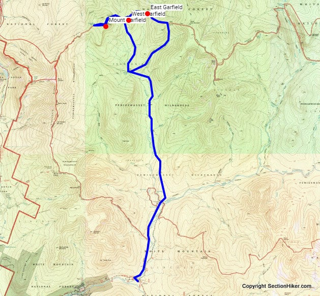Three Garfields Backpacking Loop Route
