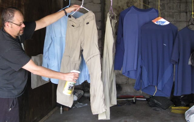 Permethrin is EPA approved for use as an insect repellent when applied to clothing and other textiles.