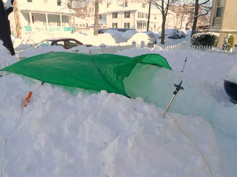 Snow Trench with Flat Tarp on Top