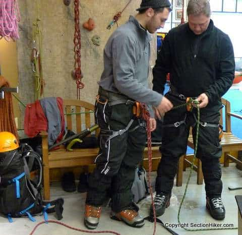 Winter Ice Climbing Rope Safety Practice