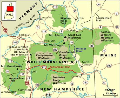 Map of the Major Roads in White Mountains