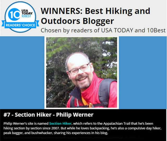 SectionHiker.com voted as one of the top 10 hiking and Outdoor Blogs on the Internet by USA Today
