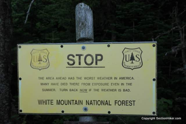 Above Treeline Warning Sign, White Mountains, New Hampshire