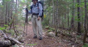 Philip Werner backpacking down the Moriah Brook trail in the Wild River Wilderness