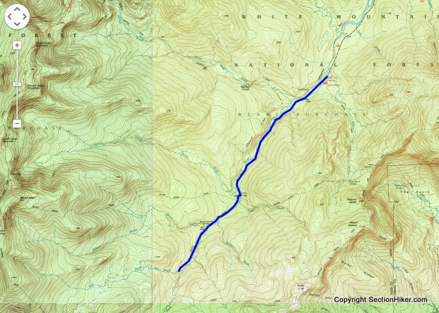 Wild River Trail from WR Campground to Red Brook. Click on image for interactive Caltopo.com Map