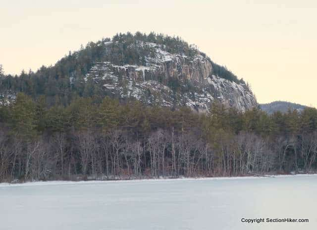 Cathedral Cliff across frozen Echo Lake
