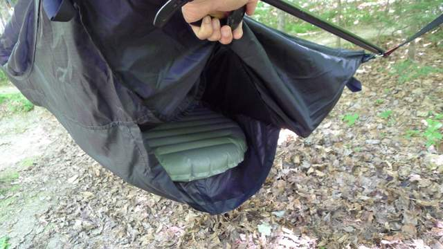 Double Layer hammocks have an extra sleeve that will hold a sleeping pad in place