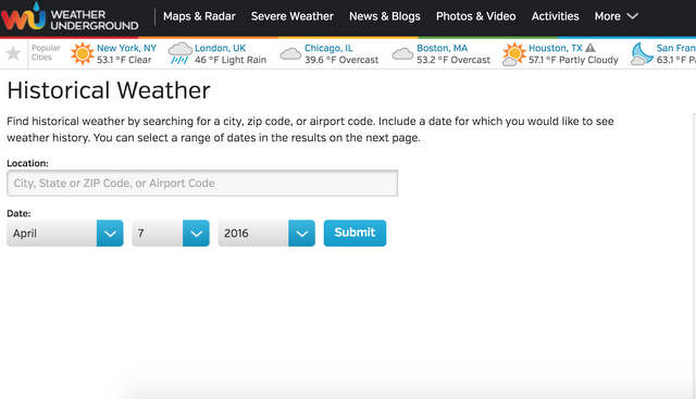 Historical Temperature Tool on Weather Underground
