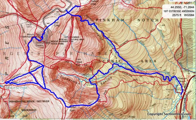 Mt Washington, Huntington Ravine Trail, and Boot Spur Loop (click for interactive map on Caltopo.com)