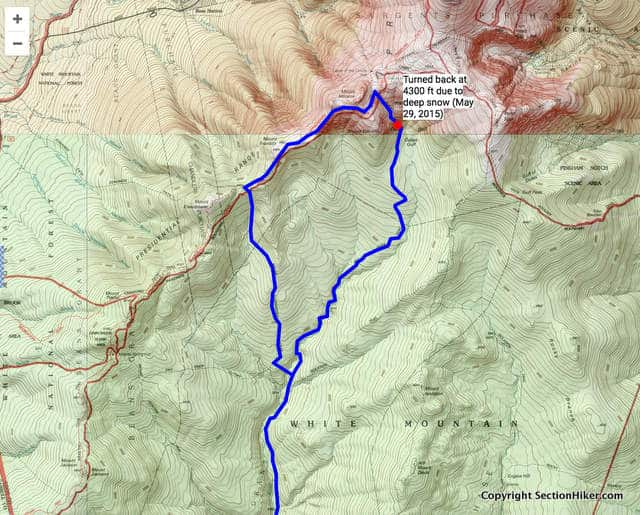 Dry River - Mt Eisenhower Loop Attempted Route (click for interactive map on Caltopo.com)
