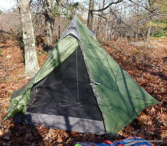 Golite Shangri-La 3 (now available as the Pyramid 3 from My Trail Company) pitched with its inner tent. While comfortable, the inner tent significantly increases the shelter weight.