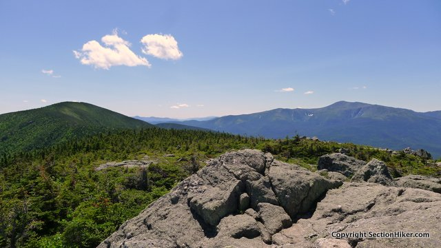 The rocky summit of Mt Hight (foreground) has great views of Mt Washington (right) and Carter Dome (left)