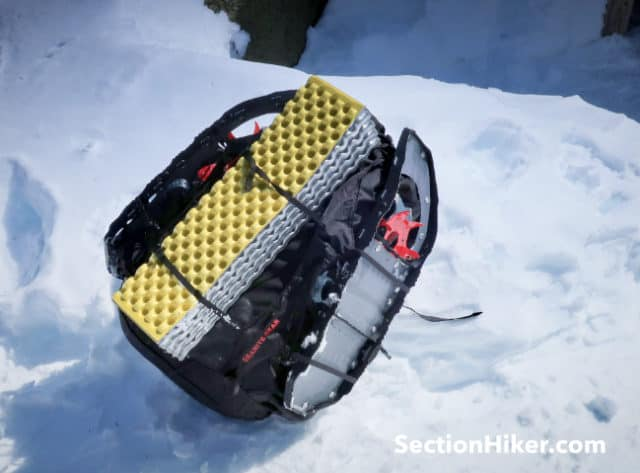 Its easy to carry snowshoes or a sleeping pad.
