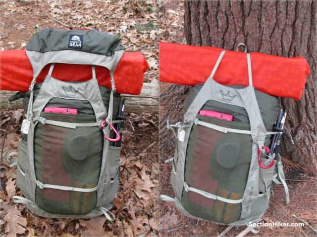 The pack can be used with and without the top lid pocket (brain)