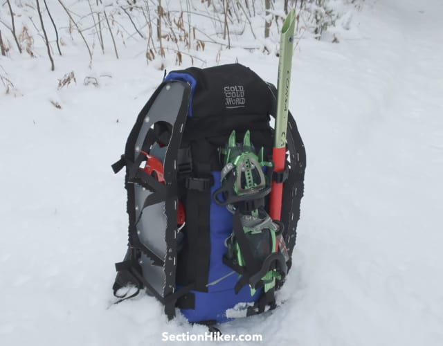 How to carry snowshoes on a backpack
