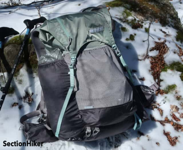 Long left pocket is perfectly size to hold a tent. Shown here with a Tarptent ProTrail Li.